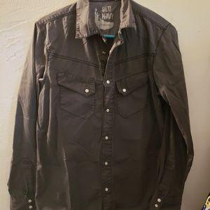 Old Navy Dark Gray Casual Button Down Collar